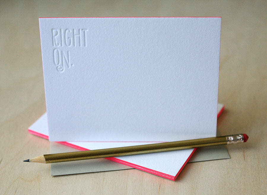 Right On Letterpress Edge Painted Notes