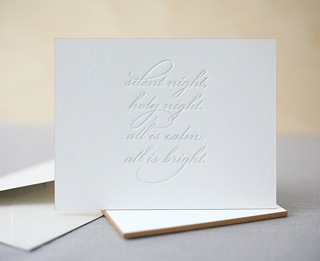 Silent Night Letterpress Christmas Cards