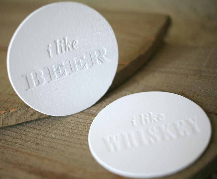 Spirits Collection Letterpress Coasters