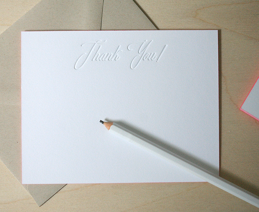 Thank You! Letterpress Edge Painted Notes