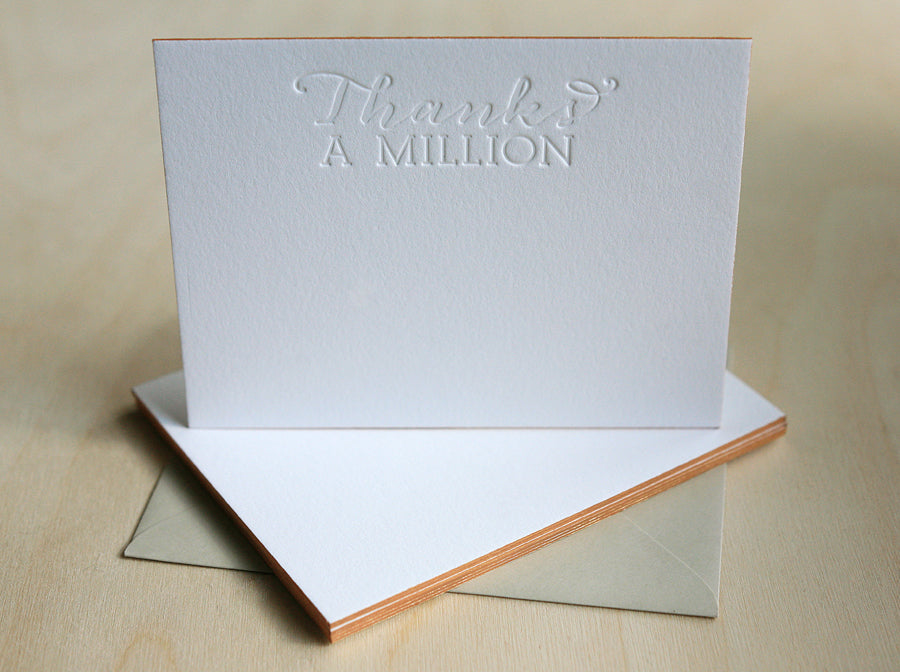 Thanks A Million Letterpress Edge Painted Notes