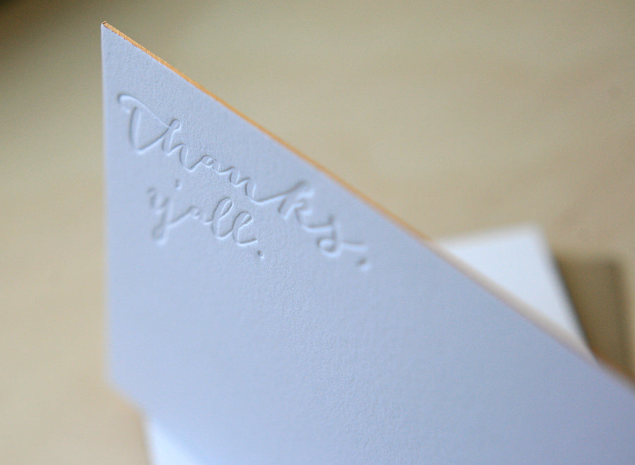 Thanks, Y'all Letterpress Edge Painted Notes