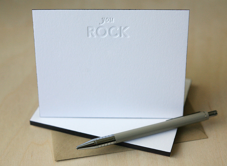You Rock Letterpress Edge Painted Notes
