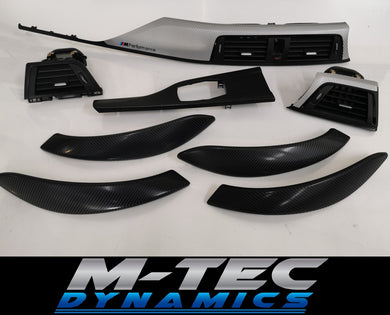 BMW F30 F80 Black & Silver Carbon Custom Trim Set