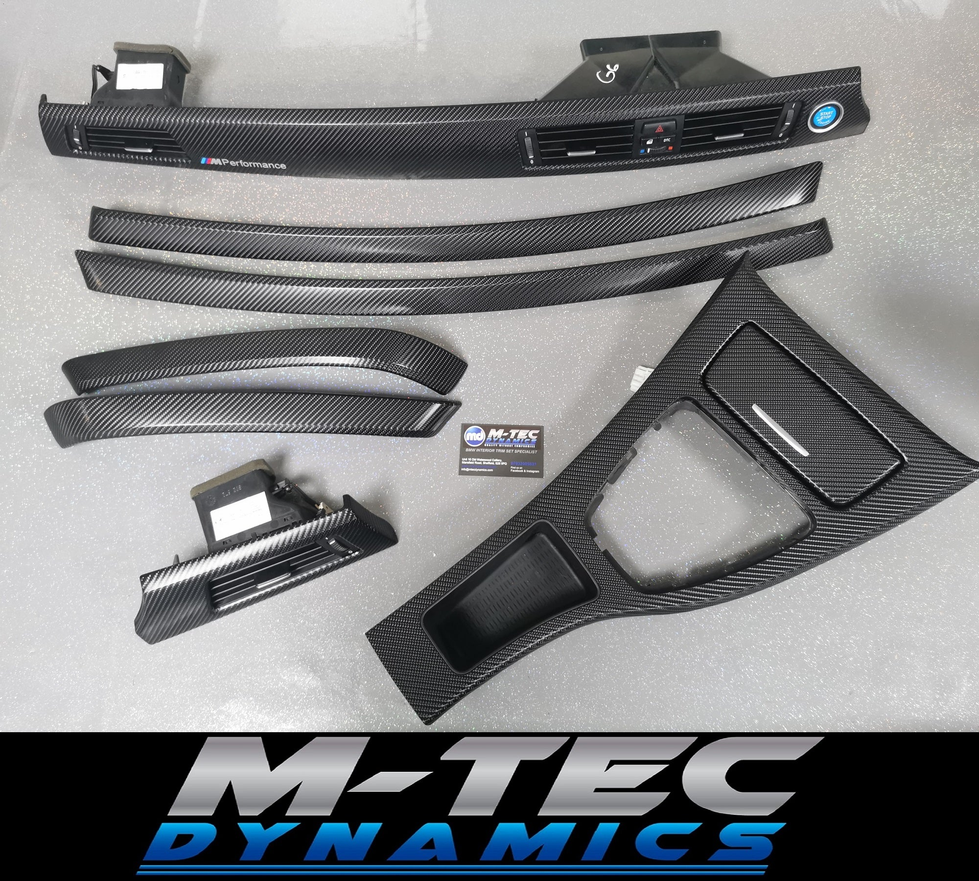 BMW E90 GLOSSY 4D BLACK CARBON TRIM SET MP