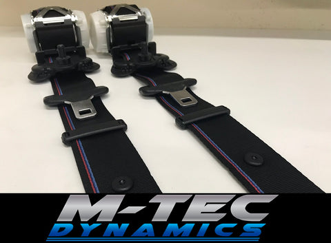 BMW E36 M3 CUSTOM M4 GTS COMPETITION STYLE TRI-COLOUR FRONT SEAT BELT SET