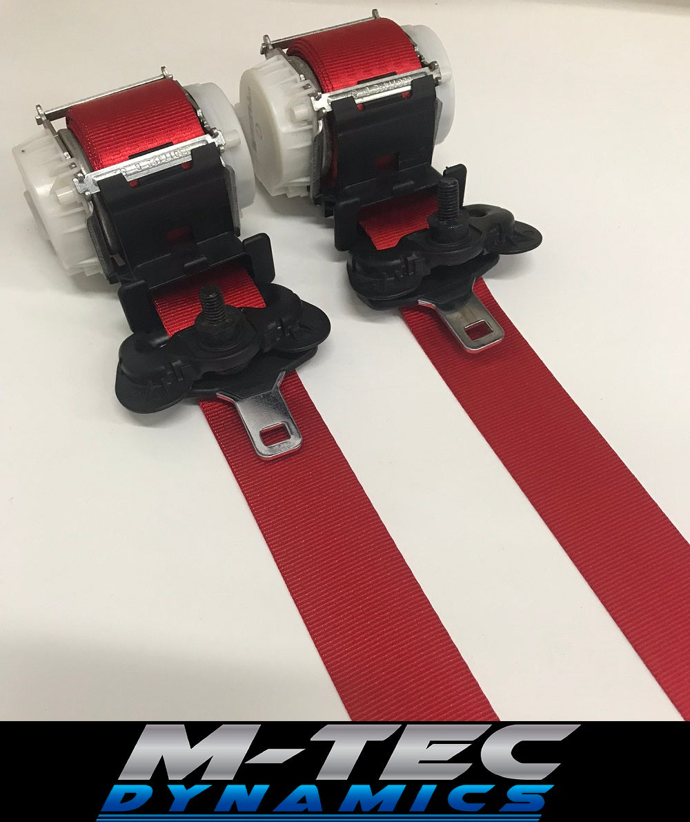 BMW E36 COUPE M3 CUSTOM RED FRONT SEAT BELT SET