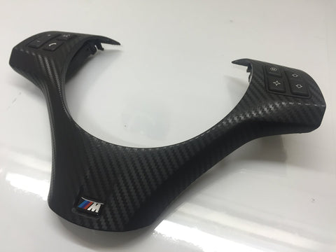 BMW E90 E92 M3 BLACK CARBON STEERING WHEEL TRIM