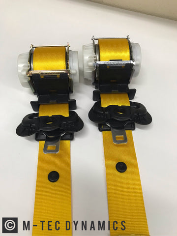 BMW E36 COUPE M3 CUSTOM YELLOW FRONT SEAT BELT SET