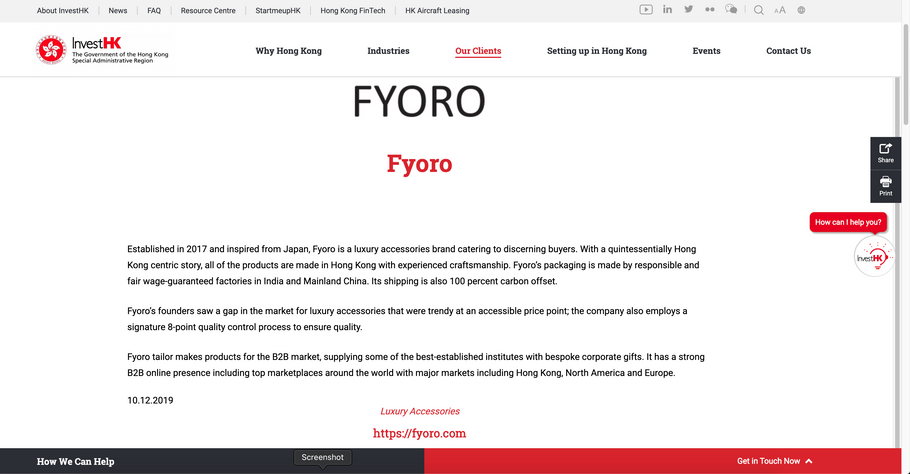 InvestHK publishes FYORO as an esteemed client