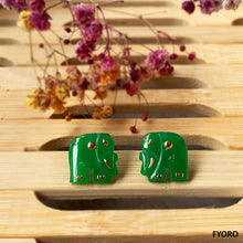 Load image into Gallery viewer, Shanghainese Jade Elephant Stud Earrings (with 14K Gold)