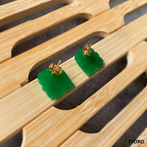 Shanghainese Jade Elephant Stud Earrings (with 14K Gold)