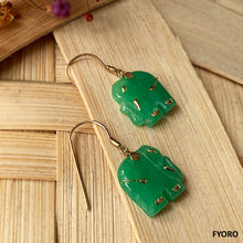 Load image into Gallery viewer, Shanghainese Jade Elephant French-Hook Earrings (with 14K Gold)