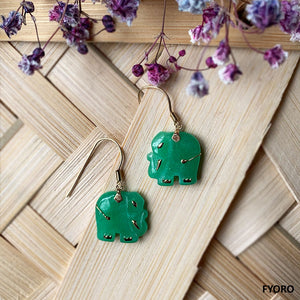 Shanghainese Jade Elephant French-Hook Earrings (with 14K Gold)