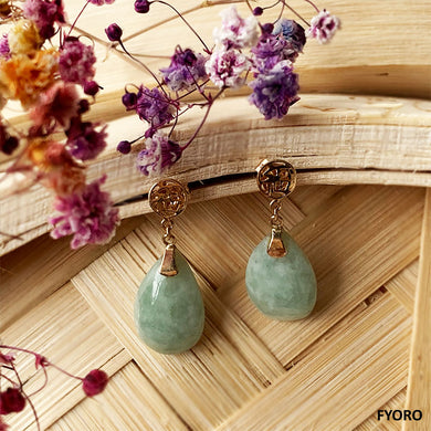 Fu Fuku Fortune Spring Jade Pear Drop Earrings (with 14K Gold)