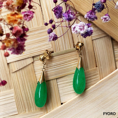 Jade Long Drop Earrings (with 14K Gold)