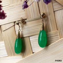 Load image into Gallery viewer, Jade Long Drop Earrings (with 14K Gold)