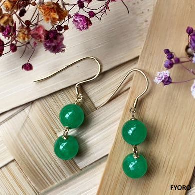 Dangling Double Sphere Jade Earrings (with 14K Gold)