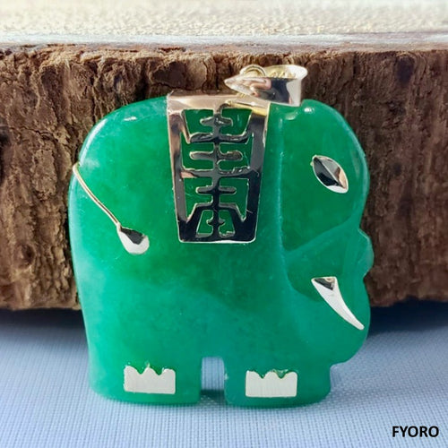 Shanghainese Jade Elephant Pendant (with 14K Gold)
