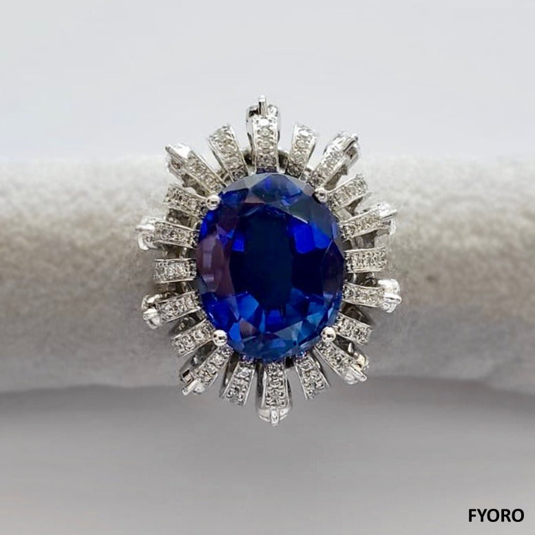 Radiance of a Sapphire Ring (with Diamonds, Sapphires, 18K White Gold)