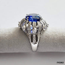 Load image into Gallery viewer, Radiance of a Sapphire Ring (with Diamonds, Sapphires, 18K White Gold)