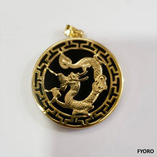Load image into Gallery viewer, Kowloon Onyx Dragon Pendant (with 14K Gold)