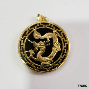 Kowloon Onyx Dragon Pendant (with 14K Gold)
