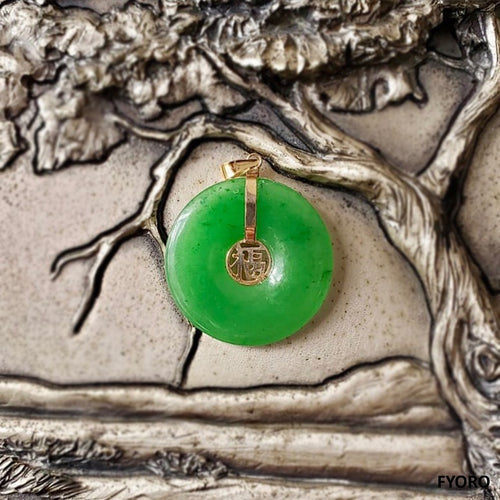 Fu Fuku Fortune Jade Pendant (with 14K Gold)