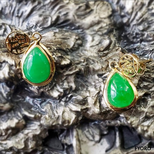 Fu Fuku Fortune Jade Earrings (with 14K Gold)