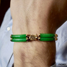 Load image into Gallery viewer, Fu Fuku Fortune Jade Bracelet (with 14K Gold)