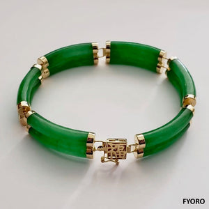 Fu Fuku Fortune Jade Bracelet (with 14K Gold)