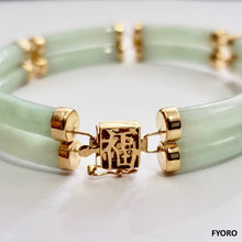 Load image into Gallery viewer, Fu Fuku Fortune Spring Jade Bracelet (with 14K Gold)