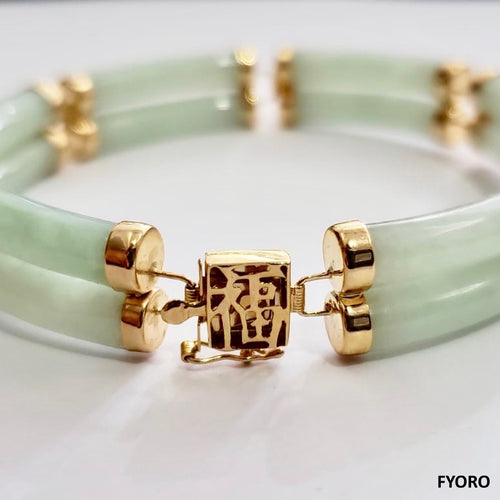 Fu Fuku Fortune Spring Jade Bracelet (with 14K Gold)