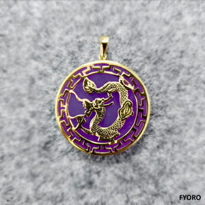 Kowloon (Purple) Jade Dragon Pendant (with 14K Gold)