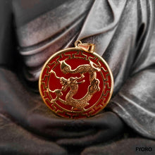 Load image into Gallery viewer, Kowloon Hong Jade Dragon Pendant (with 14K Gold)