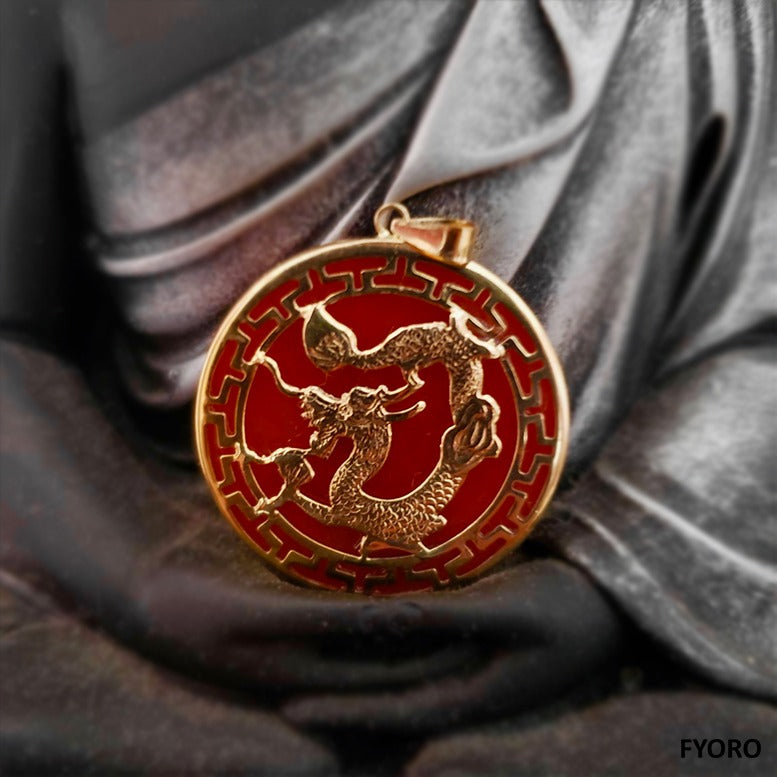 Kowloon Hong Jade Dragon Pendant (with 14K Gold)