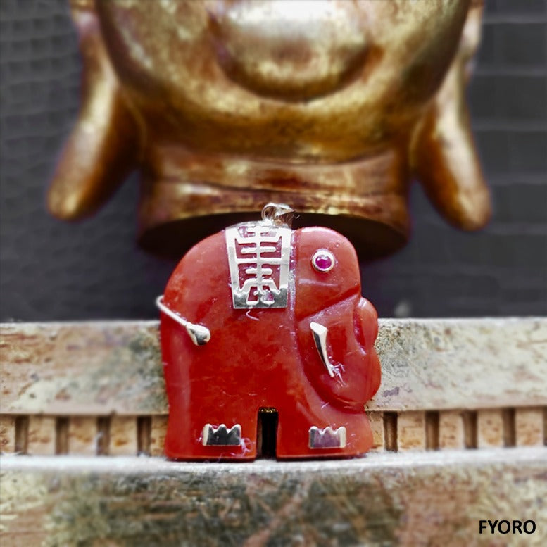 Shanghainese Hong Jade Elephant Pendant (with 14K Gold)