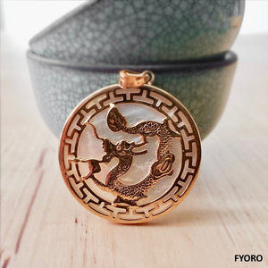 Kowloon White MOP Dragon Pendant (with 14K Gold)