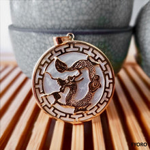 Load image into Gallery viewer, Kowloon White MOP Dragon Pendant (with 14K Gold)