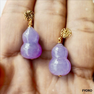 (Purple) Vase of Shakya Earrings (with 14K Gold)