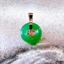 Load image into Gallery viewer, Lantau Xiao Jade Fu Fuku Fortune Pendant (with 14K Gold)