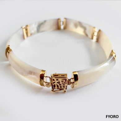 Fu Fuku Fortune Yat White MOP Bracelet (with 14K Gold)