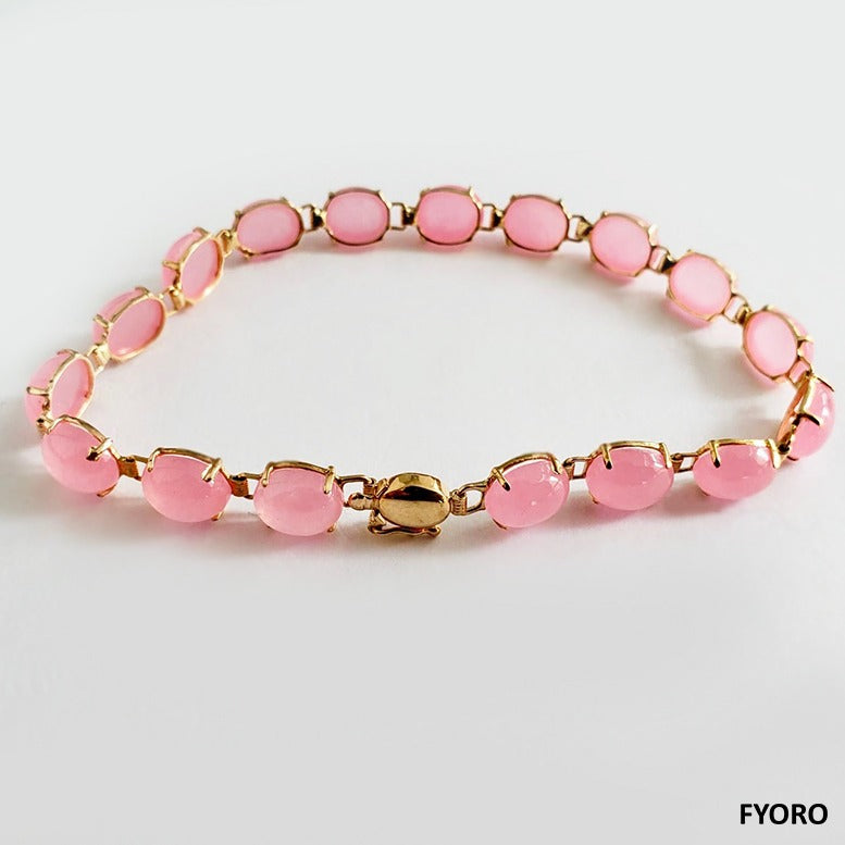 Tibetan Pink Jade Bracelet (with 14K Gold)