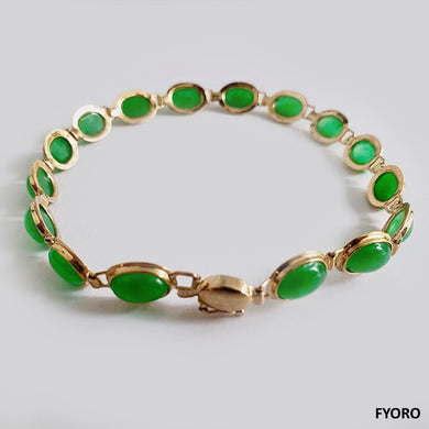 Tibetan Jade Bracelet (with 14K Gold)
