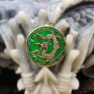 Kowloon Jade Dragon Pendant (with 14K Gold)