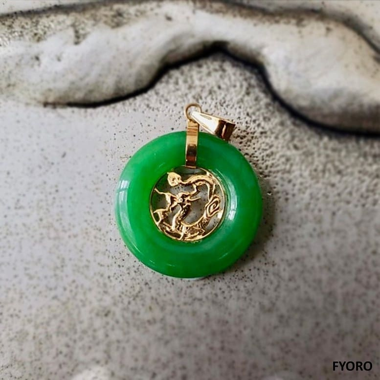 Lantau Xiao Jade Dragon Pendant (with 14K Gold)