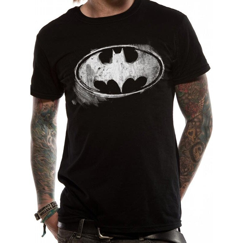 Official Batman Distressed Logo Black Mens Tee T-Shirt | Beth & Bunn