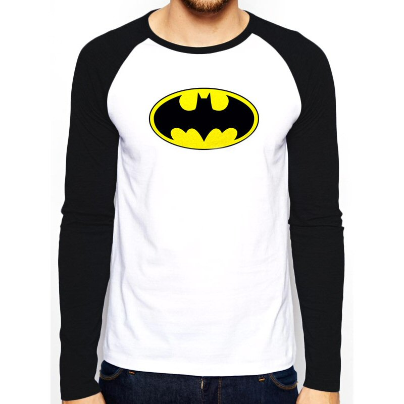 Batman Classic Logo Raglan Long Sleeve T Shirt