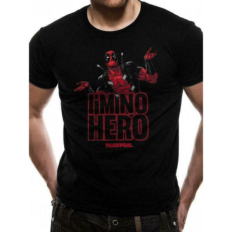 Deadpool I'm No Hero Men's T Shirt - Black