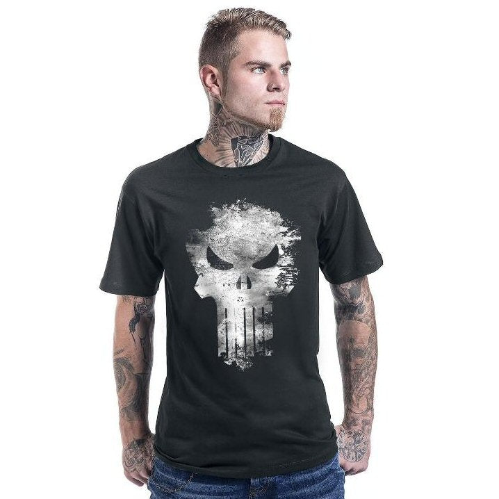Punisher Distressed Logo Mens T Shirt